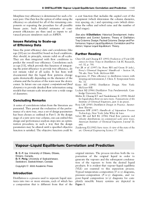 Vapour Liquid Equilibrium Correlation and Prediction