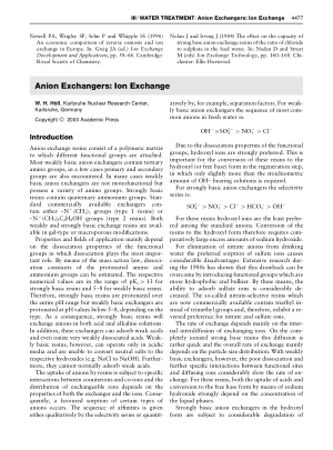 WATER TREATMENT Anion Exchangers Ion Exchange