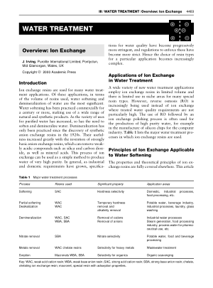 WATER TREATMENT Overview Ion Exchange