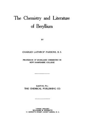 Beryllium The Chemistry and Literature of beryllium