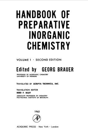 Handbook of Preparative Inorganic Chemistry 2nd edition