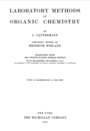 Laboratory Methods of Organic Chemistry