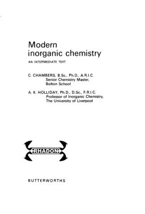 Modern Inorganic Chemistry Butterworth