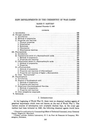 new developments in the chemistry of war gasses 1950