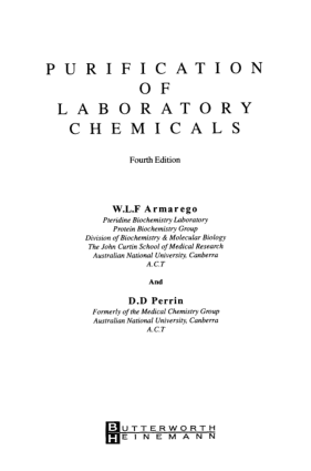 Purification of Laboratory Chemicals (4th Edition)
