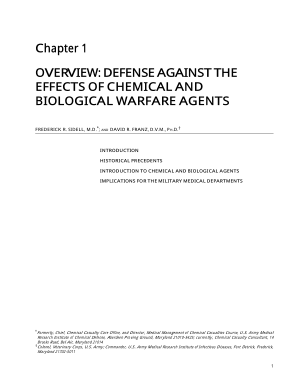 Defense Against the Effects of Chemical and Biological Warfare Agents