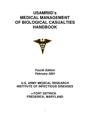 Medical Management of Biological Casualties Handbook – USAMRIID