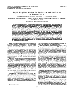 Tetanus – Rapid Simplified Method for Production and Purification of Tetanus Toxin