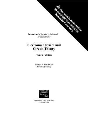 Instructor Resource Manual Electronic Devices and Circuit Theory Tenth Edition Robert L. Boylestad Louis Nashelsky