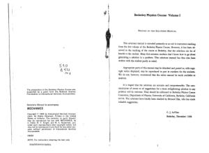 Mechanics Berkeley Physics Course Vol. 1 solution manual