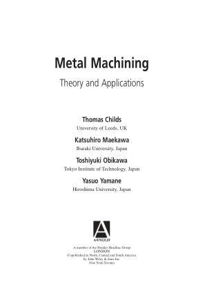 metal machining theory and applications by thomas childs