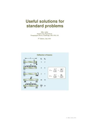Useful solutions for standard problems Mike Ashby