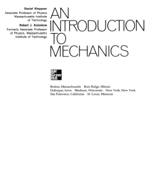 An introduction to Mechanics Daniel Kleppner Robert Kolenkow
