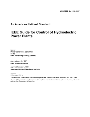 IEEE Guide for Control of Hydroelectric Power Plants