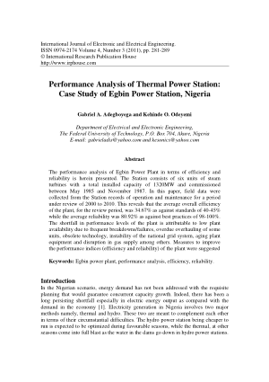Performance Analysis of Thermal Power Station Case Study
