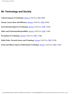 Encyclopedia of Electrical and Electronics Engineering 60.Technology and Society