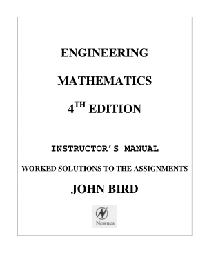 ENGINEERING MATHEMATICS 4TH EDITION INSTRUCTOR MANUAL WORKED SOLUTIONS TO THE ASSIGNMENTS JOHN BIRD