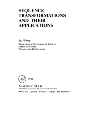 Sequence Transformations and Their Applications Jet Wimp Eds