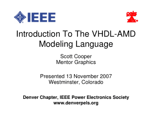 Introduction To The VHDL-AMD Modeling Language