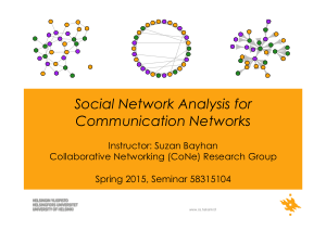 Social Network Analysis for Communication Networks Suzan Bayhan