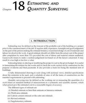 MCQs of Estimation and Quantity Surveying