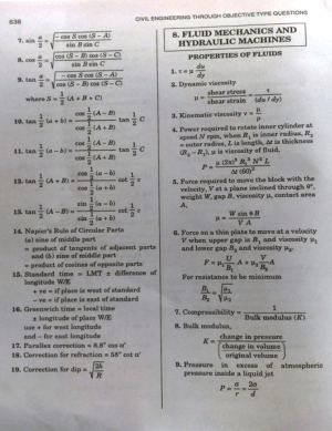 Fluid Mechanics Formulas