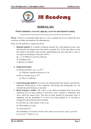 Hydrology and Irrigation Gate exam notes part-3