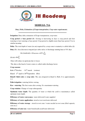 Hydrology and Irrigation Gate exam notes part-5