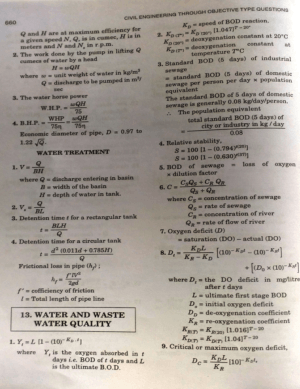 Waste Water Engineering Formulas