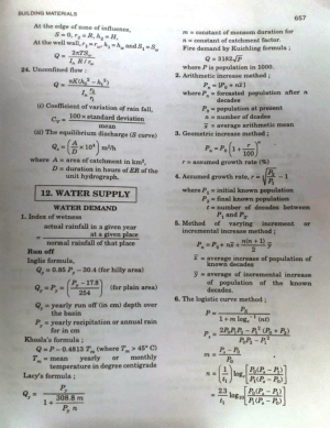 Water Supply Engineering formulas