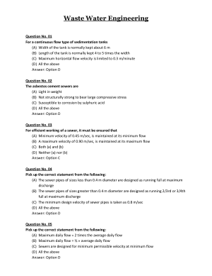Wsate Water Engineering MCQs Part-1