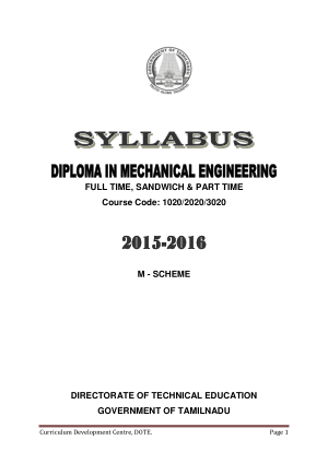 Diploma in Mechanical Engineering by M SCHEME