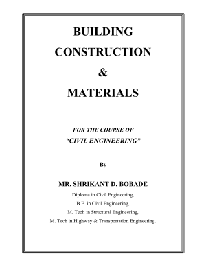 BUILDING CONSTRUCTION AND MATERIALS By MR. SHRIKANT D. BOBADE