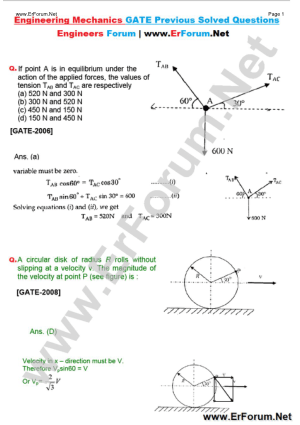 Engineering Mechanics GATE SOLVED QUESTIONS