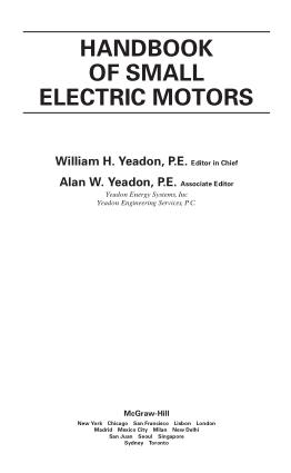HANDBOOK OF SMALL ELECTRIC MOTORS William H. Yeadon