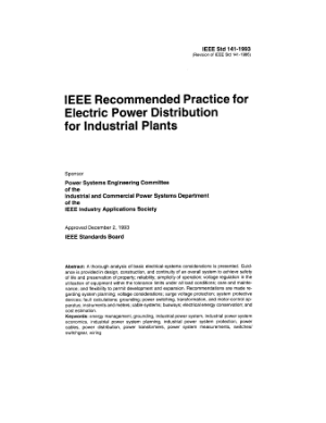 IEEE recommended practice for electric power distribution for industrial plants