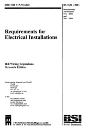 Requirements for electrical installations IEE wiring regulations 16th edition