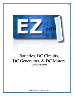Batteries DC Circuits DC Generators DC Motors Code No EE602
