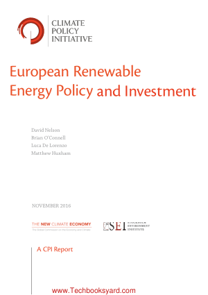 European Renewable Energy Policy and Investment
