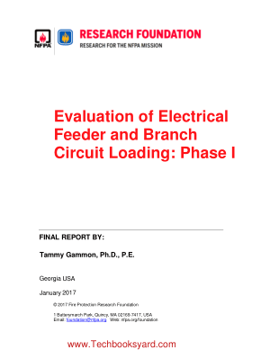Evaluation of Electrical Feeder and Branch Circuit Loading Phase I FINAL REPORT BY Tammy Gammon Ph D P E