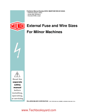 External Fuse and Wire Sizes For Milnor Machines