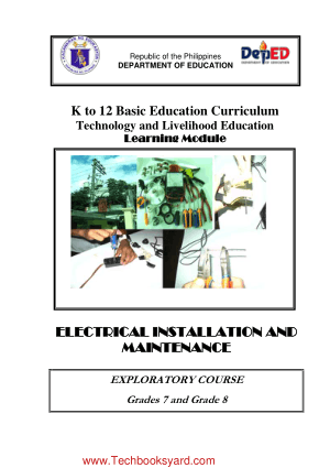 K To 12 Basic Education Curriculum Technology And Livelihood Education Learning Module Electrical Installation and Maintenance