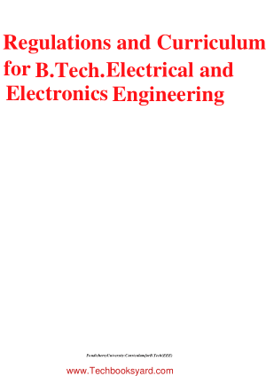 Regulations and Curriculum for B Tech Electrical and Electronics Engineering