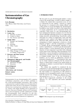 Instrumentation of Gas Chromatography G.A. Eiceman