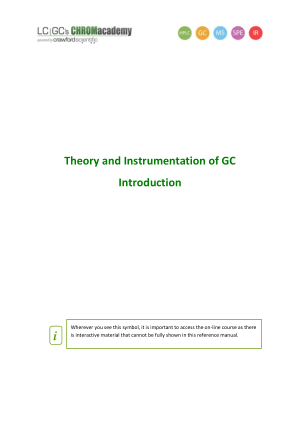 Theory and Instrumentation of GC Introduction
