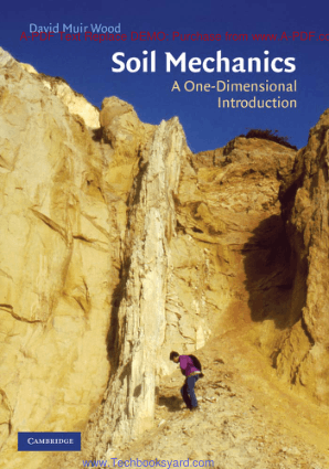 Soil Mechanics a One Dimensional Introduction By David Muir Wood
