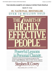 The seven habits of highly effective people by covey stephen
