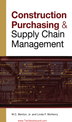 Construction Purchasing and Supply Chain Management BY W C Benton Jr Linda F McHenry