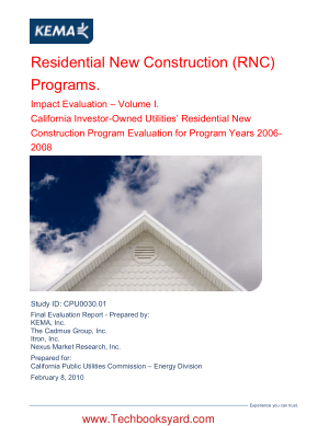 Residential New Construction RNC Programs Impact Evaluation Volume