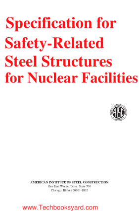 Specification for Safety Related Steel Structures for Nuclear Facilities